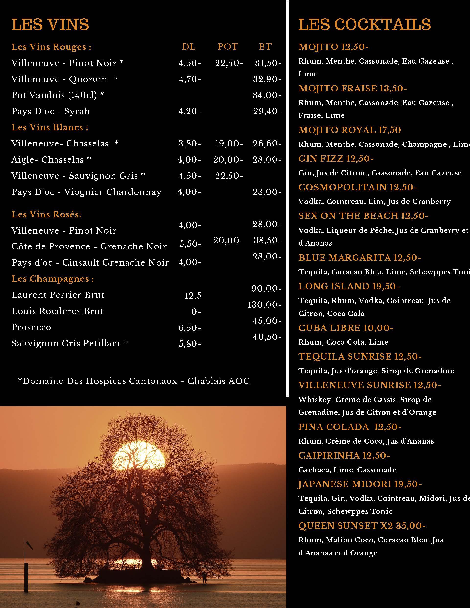 Carte des vins et Cocktails